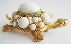 Vintage White Cabochon Turtle Pin Signed by prettyvintagejewelry, $30.00