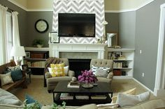 Chevron Tile Fireplace