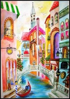 An afternoon in Venice by MARYANNE JACOBSEN. Watercolor on Arches full sheet.
