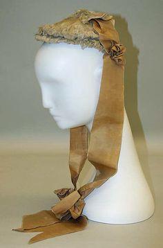 Wedding bonnet Date: ca. 1868 Culture: American Medium: silk