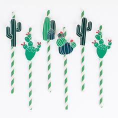 12 cactus straws