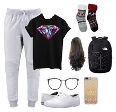 """""""Long plane ride got me like"""" by ashleighkingg on Polyvore featuring Keds, Linda Farrow, Casetify and The North Face"""