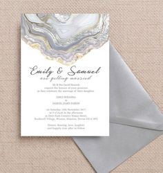 Personalised Agate Crystal Geode Silver Grey Wedding Invitation. Printable PDF or printed available