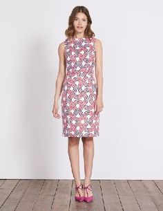 #Boden Martha Dress Ivory Garland Women Boden, Ivory #By popular demand, this bestselling favourite is back - a beautifully flattering sleeveless dress with an above-the-knee cut and tailored pleats at the waist to create an hourglass silhouette. Weve finished off the structured style with a roll-collar for a modern take on femininity.
