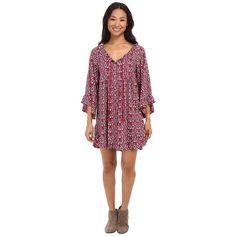 Roxy Blackbird Dress Women's Dress ($55) ❤ liked on Polyvore featuring dresses, pattern dress, button front dress, textured dress, peasant dress and frill dress