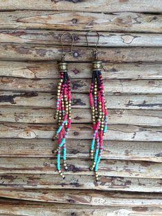 Tribal Fringe Seed Bead Earrings by WanderlustSoulArt on Etsy