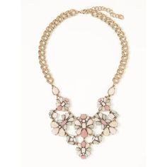 Old Navy Womens Floral Brooch Statement Necklace ($23) ❤ liked on Polyvore featuring jewelry, necklaces, pinky promise, multicolor statement necklace, gold tone necklace, colorful statement necklace, costume jewelry and chain statement necklace