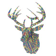 """Empire Ruhl """"Energy Abstract"""" Multicolor Pattern Bucky Deer Bust Jr. from KESS InHouse"""