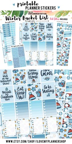 Winter bucket lits. Winter printable planner stickers. December weekly kit for Erin Condren Vertical Planner.
