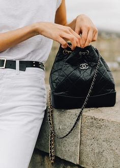 Model-Off-Duty Style With Roberta Pecoraro. CHANEL Gabrielle bag.