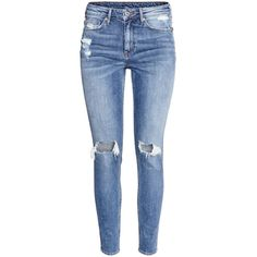 H&M Skinny High Ankle Jeans ($43) ❤ liked on Polyvore featuring jeans, pants, bottoms, calças, denim blue, high waisted jeans, blue jeans, super skinny jeans, short pants and high rise jeans