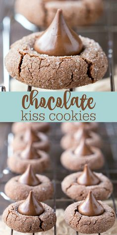 Chocolate Kiss Cookies - triple chocolate cookie recipe that's a great Valentine. - Chocolate Kiss Cookies – triple chocolate cookie recipe that's a great Valentine's Day desser - Valentines Day Desserts, Christmas Desserts, Christmas Baking, Valentine Recipes, Triple Chocolate Cookies, Chocolate Cookie Recipes, Chocolate Christmas Cookies, Chocolate Kisses, Valentine Chocolate