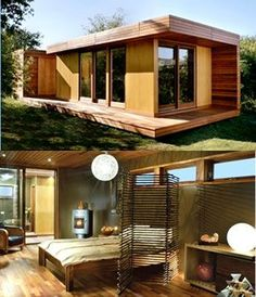 This modern prefab cabin, called the BlueSky MOD, is one of a few examples of affordable green modular homes currently available today - Prefabricated House Modular Cabins, Prefab Cabins, Modular Homes, Nachhaltiges Design, House Design, Plano Hotel, Mini Loft, Modern Prefab Homes, Tiny House Cabin