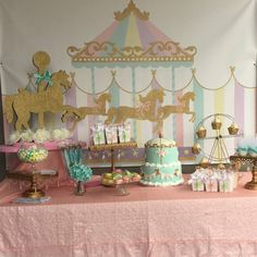 Carousel Party Backdrop First Birthday Any Age Girls Baby Shower Banner Girl Circus Banner Pastel Colors Printed Or Printable Carousel Birthday Parties, Carousel Party, Circus Birthday, Party Kulissen, Ideas Party, Banner Backdrop, Shower Banners, Santas Workshop, Backdrops For Parties