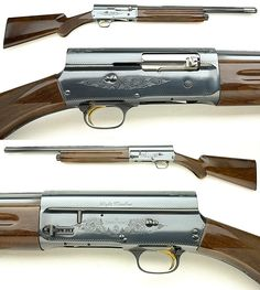 Browning Auto-5 / A5 and Remington model 11 shotgun (Belgium, USA) Type:semi-automatic, recoil operated Gauge:12, 16 and 20 Length: varies with model Barrel length: varies with model Weight varies with model Capacity: 4 rounds in underbarrel tube magazine