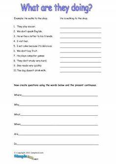 esl present continuous elementary worksheet