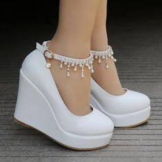 Wedges shoes for women rhinestone platform wedges pumps for .- Wedges shoes for women rhinestone platform wedges pumps for women high heels shoes # fashionmodel - Fancy Shoes, Pretty Shoes, Buy Shoes, Kawaii Shoes, Ankle Strap Wedges, Shoes Heels Wedges, Ankle Straps, Strap Sandals, Wedge Shoes Outfits