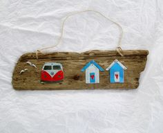 Driftwood plaque with campervan and beach huts, from recycled tin