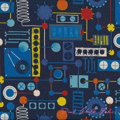 Kokka Nancy Wolff Robots Cogs Blue