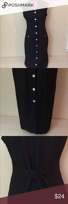 St. John's Bay dress Full length black button front dress sinches in the back to make it tighter around your waist St. John's Bay Dresses Maxi