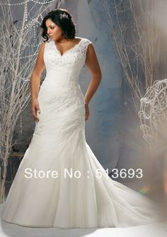 New Arrival Mermaid V neck Applique Organza Lace Up Plus Size Wedding Dress 2013-in Wedding Dresses from Apparel Accessories on Aliexpress.com $152.00