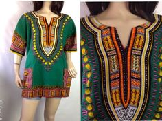 Vintage Green Dashiki African Print Top  by sixcatsfunVINTAGE