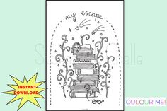 Cute Printable A5 COLORING Page My Escape by SweetestChelle