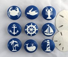 Handmade Furniture Nautical Knob (Single Knob) ** Check out the image by visiting the link. Ceramic Knobs, Ceramic Art, Nautical Drawer Knobs, Dot Painting, Stone Painting, Boat Decals, Painted Rocks, Hand Painted, Nautical Design