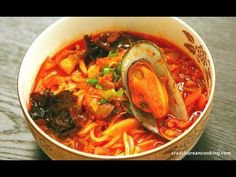 Spicy Seafood Noodle Soup Recipe, Jjam Ppong, 짬뽕 - Crazy Korean Cooking  Shop Korean Ingredients at www.crazykoreanshopping.com  #koreaningredient #koreancooking #koreanfood