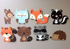 Set of 8 Woodland Animals Deer Owl Squirrel by MakelleDesigns, $5.00