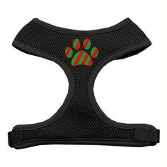 Christmas Paw Screen Print Soft Mesh Harness Black Large