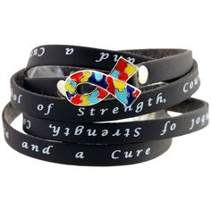 This Ribbon is Autism Awareness Wrap Bracelet. Every Purchase Funds Research and Therapy to Help Children with Autism.