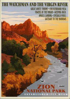 vintage national park poster | postcard - Zion National Park | Flickr - Photo Sharing!