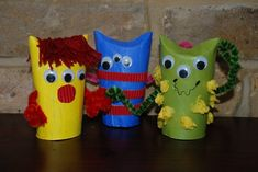 "Toilet paper roll monsters to go along with ""Two Monsters"" by David Mckee or ""My Friend the Monster"" by Eleanor Taylor."