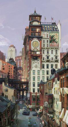 The amazing digital art Steampunk Architecture, Asian Architecture, Fantasy Landscape, Landscape Art, Art Environnemental, Illustration Art, Illustrations, Fantasy City, Animation Background