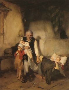Grandfather and Children, Nikolaos Gyzis Greek Paintings, Paintings I Love, Beautiful Paintings, World Icon, Greek Art, Historical Art, Chiaroscuro, Mother And Child, Pretty Pictures