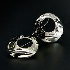 """Sterling Silver Raven Earrings by Haida artist Alvin Adkins. 1"""" diameter, available for $200.00 CDN."""