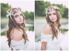 Shipwrecked || A styled photo shoot Sea shell crown by Love Sparkle Pretty Photography by Kayla V Photography Handmade shell crown $380: https://www.etsy.com/listing/170816314/shipwrecked-seashell-crown-with-moss-and See the rest of this styled photo shoot: http://lovesparklepretty.blogspot.com/2013/07/shipwrecked-styled-photo-shoot.html
