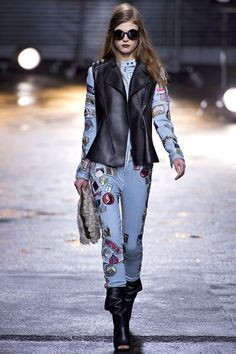 3.1 phillip lim fall rtw 2013- light denim with black leather, model's hair color is amazing, round glasses