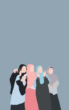 Best Friends Cartoon, Friend Cartoon, Cartoon Girl Images, Cartoon Art, Cover Wattpad, Islamic Cartoon, Anime Muslim, Hijab Cartoon, Wallpaper Aesthetic