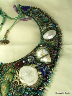 Enchanting Mermaid  Bead Embroidery Necklace:. $995.00, via Etsy.