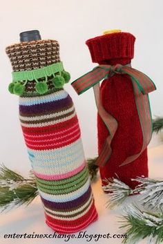 I have three Holiday Parties this weekend and wanted to add a personal touch to my wine hostess gifts. I came up with this simple 10 minute craft that I hope my hostesses will love. I was able to recycle a few out-dated sweaters as well. Yes, these gift bags are made of sweater sleeves.