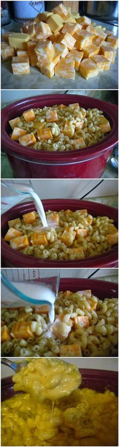 Crock Pot Mac and Cheese. This was fantastic. I made it exactly according to directions (I used the casserole macaroni), and put a liner in my slow cooker, then sprayed it. I stirred at 2 hours, 3 hours, 4 hours, and then before serving (maybe an hour later). Very filling, and thumbs up from my picky mac & cheese connoisseur.
