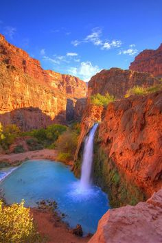 Mooney Falls in Havasu Creek, Arizona United States