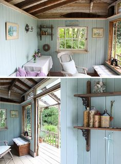 Fun She Shed Conversion Ideas Conversion Fun Ideas Shed Wohnwagen einrichtu Garden Shed Interiors, Summer House Interiors, Shed Design, House Design, Garden Design, Shed Plans, House Plans, Shed Conversion Ideas, Shed Office