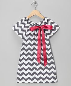 Gray & Pink Zigzag Bow Dress - Toddler & Girls on zulily today!