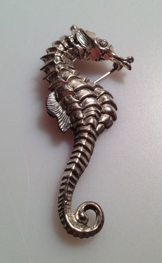 1940s Vintage SEAHORSE Brooch Pin marked BEAU by thepopularjewelry