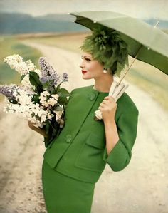 1960 Isabella Albonico in beautiful grass-green tweed suit by Seymour Fox