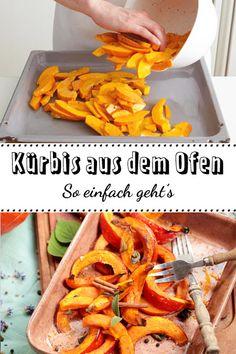 Einfacher und köstlicher kannst du Kürbis nicht zubereiten: Kürbis aus dem Ofen überzeugt uns mit seiner cremigen Konsistenz und dem leckeren Röstaroma. So einfach geht's! #lecker #kuerbis #ausdemofen #sogehts