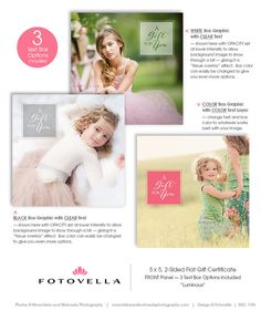 Photography Gift Certificate Template 5x5 Photoshop by FOTOVELLA - Photoshop Templates for Photographers